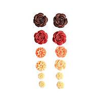 Набір пластикових трояндочок 12 шт. самоклеючі, червоні відтінки 10-23 мм