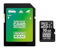 MicroSDHC 16GB UHS-I/U3 Class 10 GoodRam + SD-adapter R90/W45MB/s (M3AA-0160R11-DD)