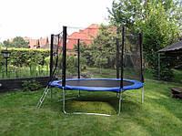 Батут GreenLight диаметром 252см (8ft) спортивный для детей с лестницей и внешней сеткой