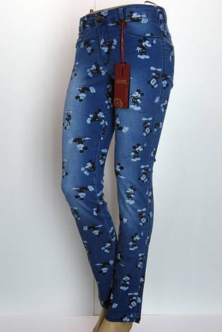 Жіночі джинси з принтом Мікі Маус, фото 2