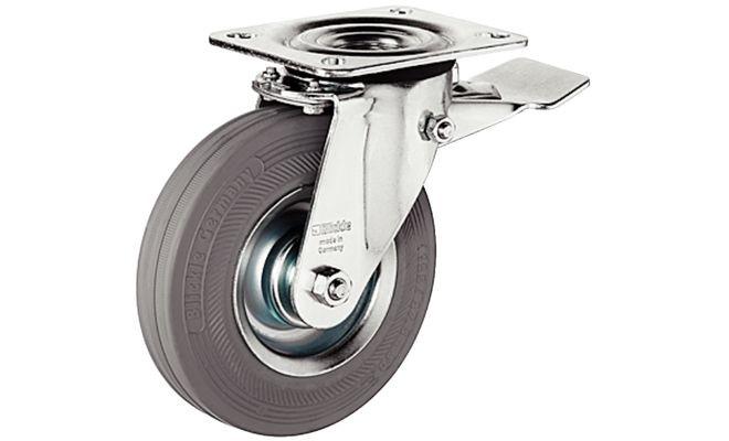 Ролик мебельный поворотный со стопором стальной оцинкованный 125мм нагрузка 100 кг