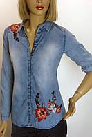 Блузка джинсовая  с вышивкой Saloon
