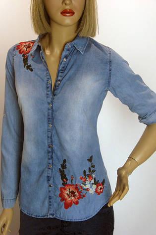 Жіноча джинсова сорочка з вишивкою Saloon, фото 2
