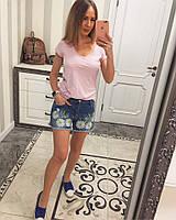 Красивые женские шорты -вышивка ромашки VD-004.012