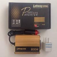 Перетворювач Lotway 12V-24V-220V/200W/USB/прикурювач/євро вилка