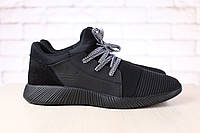 Мужские кроссовки, черные, из натуральной кожи, с текстильными и замшевыми вставками черного цвета, на черной