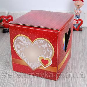 Картонная упаковка для чашки (Красное сердце)