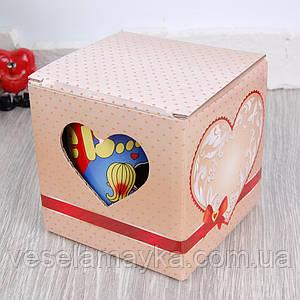 Картонная упаковка для чашки (Бежевое сердце)