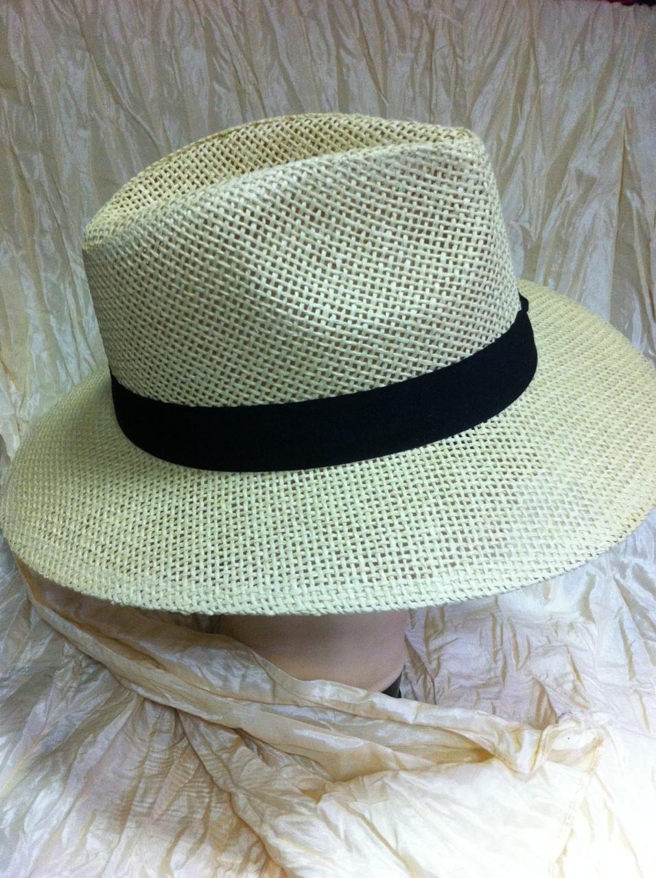 Шляпа летняя мужская с лентой бежевая и молочная
