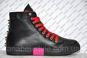 Кеды женские высокие на шнуровке черного цвета, фото 2