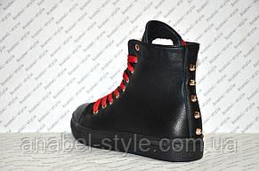 Кеды женские высокие на шнуровке черного цвета, фото 3