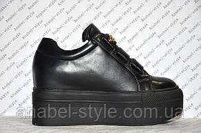 Криперсы женские стильные эко кожа черного цвета, фото 2