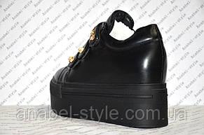 Криперсы женские стильные эко кожа черного цвета, фото 3