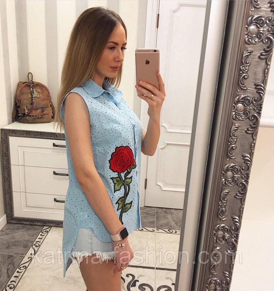 Женская модная летняя рубашка/блуза из прошвы с вышивкой (расцветки)
