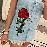 Женская модная летняя рубашка/блуза из прошвы с вышивкой (расцветки), фото 2