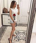 Женская модная летняя рубашка/блуза из прошвы с вышивкой (расцветки), фото 3