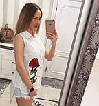 Женская модная летняя рубашка/блуза из прошвы с вышивкой (расцветки), фото 4