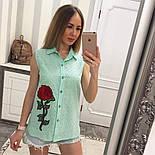 Женская модная летняя рубашка/блуза из прошвы с вышивкой (расцветки), фото 7