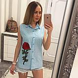 Женская модная летняя рубашка/блуза из прошвы с вышивкой (расцветки), фото 10