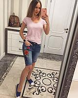 Женские стильные джинсовые шорты с вышивкой, фото 1