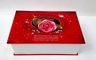 """Музыкальная детская шкатулка """"Роза"""" в виде книги красного цвета"""