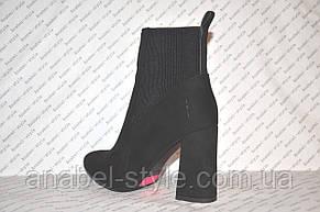 Ботильоны осень-весна на каблуке замшевые черного цвета, фото 3