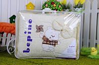 """Постельный набор в детскую кроватку """"Bepino"""" вышивка Мишка и ветряк"""