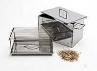 Домашняя коптильня горячего копчения: решётка, поддон, нержавеющая сталь, 50х30х25 см