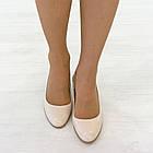 Бежевые туфли на низком каблуке женские Woman's heel лакированные кожаные молочные, фото 2