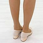 Бежевые туфли на низком каблуке женские Woman's heel лакированные кожаные молочные, фото 3
