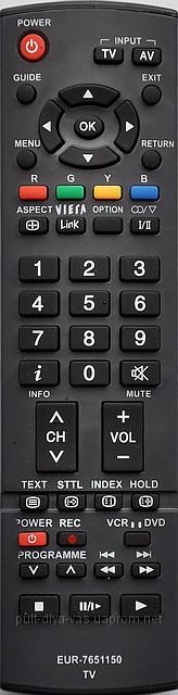 Пульт  телевизора Panasonic. Модель EUR-7651150