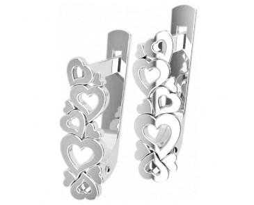 Серьги серебряные Сердечки 40866