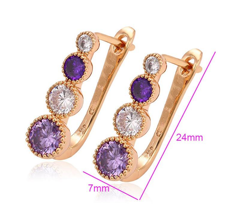 Серьги позолота, Дорожка с фиолетовых и белых камней циркония