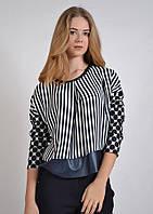 Стильная блузка в полоску и горох, свободная, 7562 MEES Турция