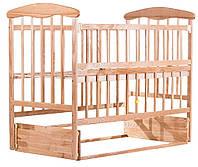 Детская кроватка Наталка с откидной боковиной и маятником Ясень натуральный