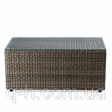 Столик журнальный плетеный из ротанга искусственного Kombo прямоугольный коричневый, фото 2