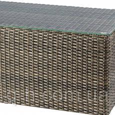 Столик журнальный плетеный из ротанга искусственного Kombo прямоугольный коричневый, фото 3