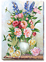 Набор для вышивания бисером на художественном холсте Букет в сливочных оттенках