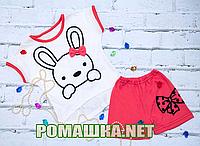 Детский летний костюм р. 92 для девочки тонкий ткань КУЛИР 100% хлопок ТМ Ромашка 3564 Бежевый