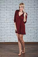 Велюровый халат женский на запах бордо, фото 1