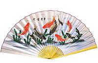Веер настенный шелковый 9 рыб на голубом фоне