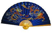 Настенный веер шелк Драконы на синем фоне