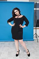 Платье женское чёрное с вставками гипюра ВВ/-10