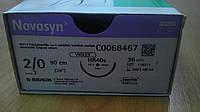 Новосин Novosyn Полигликолиевая кислота 2/0, 40 мм колющая игла 1/2 окружности, нить 90 см фиолетовая