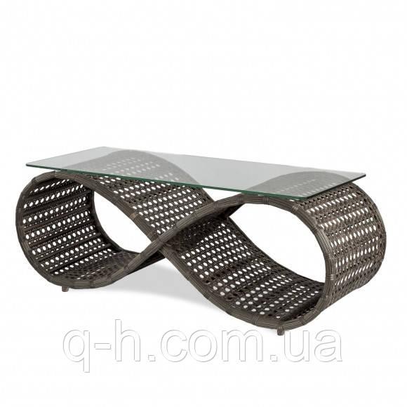 Стол кофейный плетеный из искусственного ротанга Viano коричневый cо стеклом