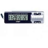 Электронные часы в автомобиль 7065, будильник, календарь, секундомер, таймер, термометр, 120х34х34 мм