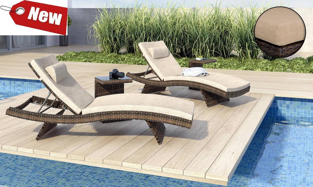 Комплект шезлонги   для бассейна  плетеные  Prato  200х65х33см + столик