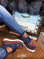 Туфли на платформе джинс с вышивкой