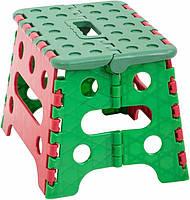 Оригинальный маленький складной стул ММ Пласт, пластик, красно-зеленый, с ручкой, 17,5х16х21,5 см