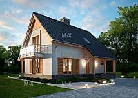 MX112. Мансардный дом с крытой входной группой и террасой